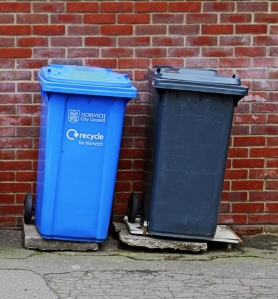 Bins for recycling and domestic waste in Norwich, one of the seven borough councils that will be changing their bin collection timetables over the holidays. Credit: Leo Reynolds.