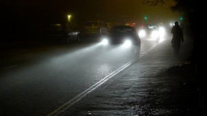Evening traffic in foggy Norwich. If you can't see further than 100m, switch on your fog lights. Credit: Harry Harris