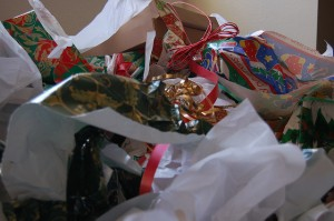 Wrapping paper is one of the main causes of extra rubbish during the Christmas season. Credit: Brad Herman.