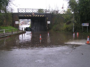 Dips under railway bridges can collect water, like this one on Station Road in Wymondham.
