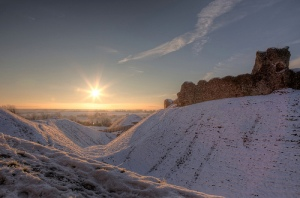 A low sun over Castle Acre Castle creates a stunning winter scene on Wednesday. Credit: Nick Ford