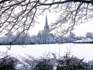 Norwich Cathedral surrounded by a white landscape after yesterday's heavy snowfall. Credit: mira66