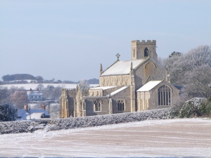 The beautiful sight of Cley Church in the snow taken in January. Credit: clickerjac
