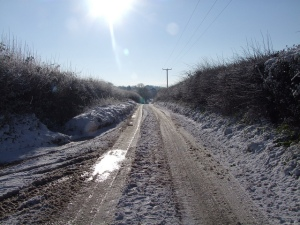 Old Woman's Lane in Cley covered in snow this morning. Credit: clickerjac.