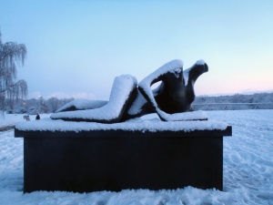 The Sainsbury's Centre was covered in snow on Friday, as shown by this Henry Moore sculpture. Credit: Ian Gallagher