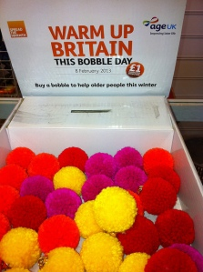 Bobble Day is coming on Friday. Get your bobbles (which come in a range of colours) for a suggested donation of just £1. Credit: Howard Lake.