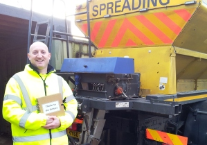 Joe Harris from Aylsham, who's been gritting Norfolk roads for the last eleven years.